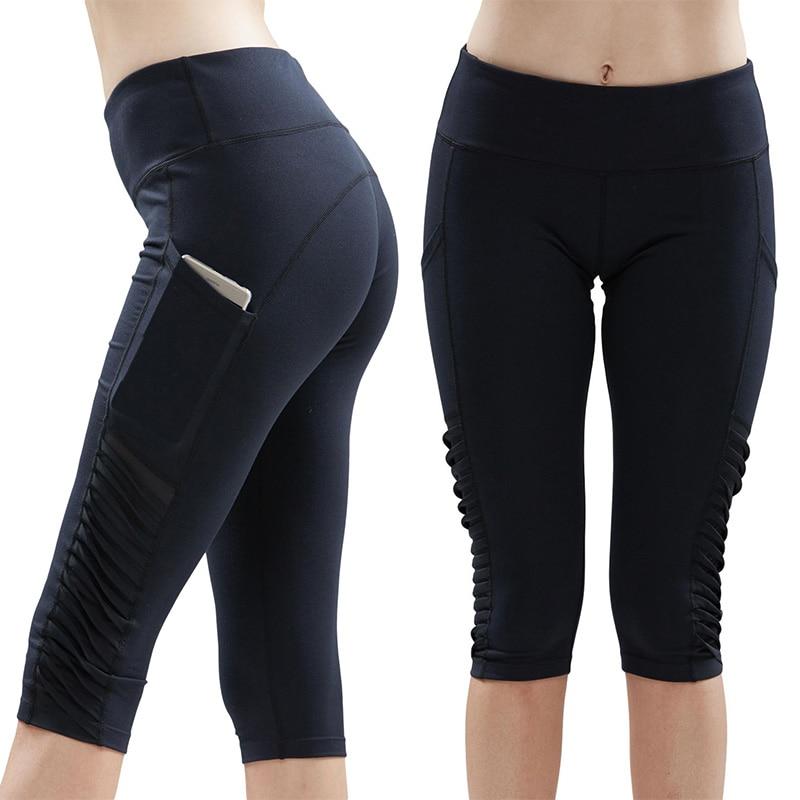 7dcfc3f7bb9cc Lumier Women Yoga Pants Knee Length High Elasticity Pleated Side Running  Capri Tights With Pocket Gym Jogging Legging Sport Wear on Aliexpress.com |  Alibaba ...