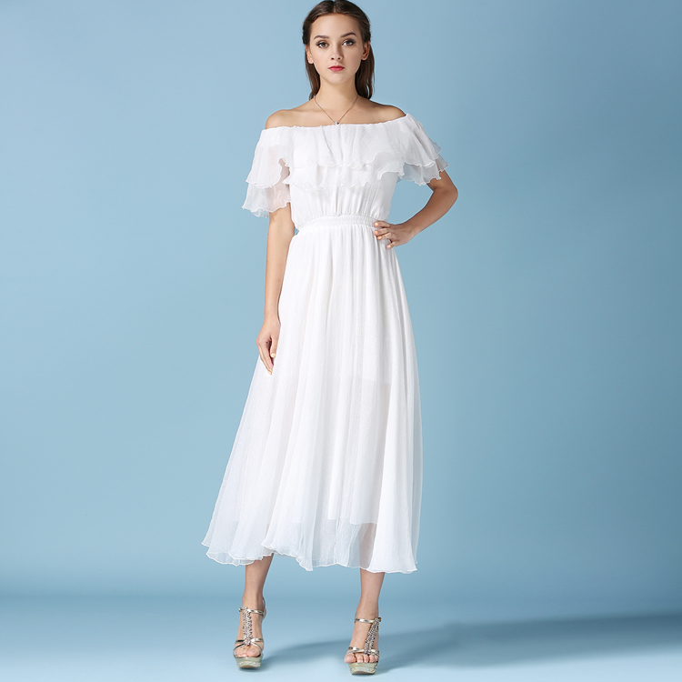 Robe Sexy Goddess White Dress Women Summer Long Chiffon Dress Vestidos Verano 2017 Double Lotus Leaf Collar Party Dresses 81955