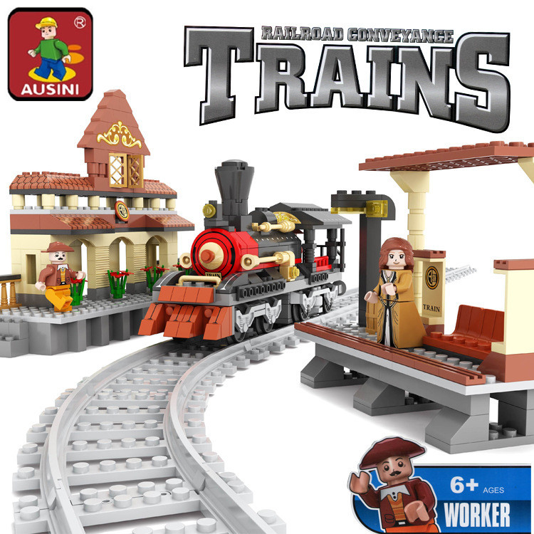 AUSINI 25811 Train Station building blocks train 462 particles Train Bricks Blocks children's educational toys Bringuedos DIY