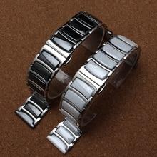 קרמיקה + כסף נירוסטה רצועת השעון 22mm עבור Samsung Galaxy שעון 46mm הילוך S3 רצועות החלפת להקת יד חגורת מלוטש