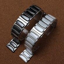 Céramique + argent acier inoxydable bracelet de montre 22mm pour Samsung Galaxy montre 46mm Gear S3 sangles de remplacement bracelet de poignet poli