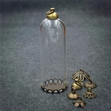 купить 20sets/lot 50x18mm glass tube bronze base beads cap glass vial pendant bottle dome jewelry findings дешево