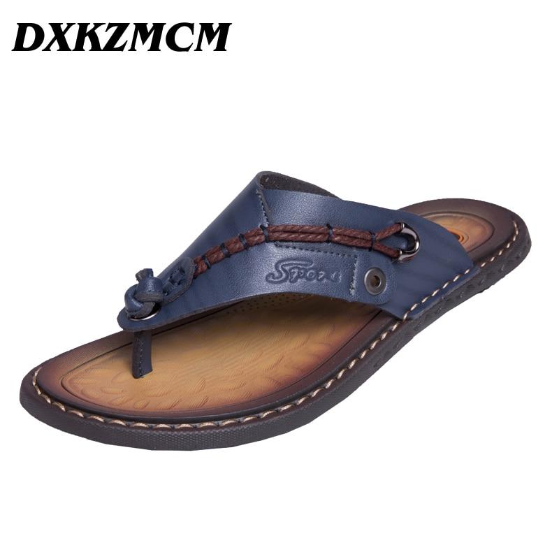 Men's Sandals Footwear Flip-Flops Slippers Summer Shoes Comfortable Genuine-Leather Leisure