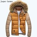 free shipping Fur Collar Men Winter Parkas Keep Warm Jacket Patchwork Design Fashion Style Man Slim Fit Down Coat Size M~3XL