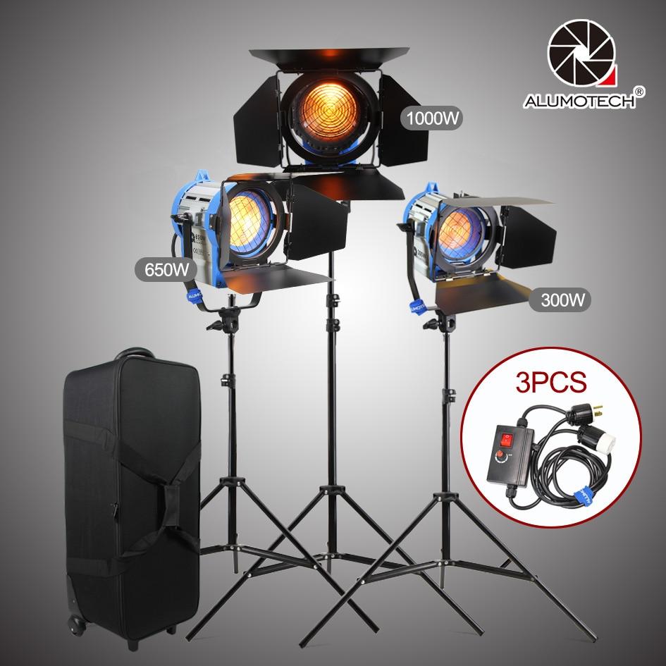 ALUMOTECH As ARRI 300/650/1000W Fresnel Tungsten Light+DimmerX3+Air Cushion Stands+Case Light Kit Fo Studio Video Photography|as arri|tungsten video light|studio spot light - title=