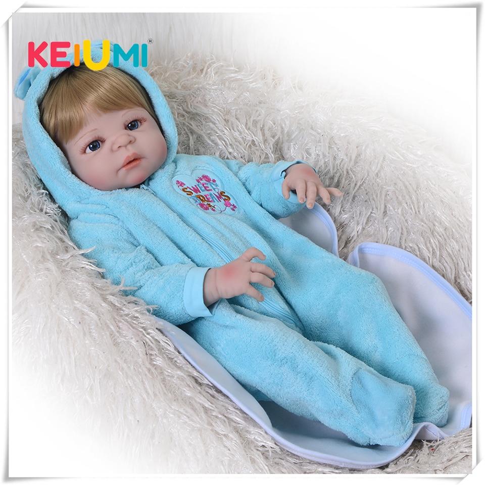 Boneca recém-nascido 23 lifelifelifelike silicone reborn boneca 57 cm vinil completo realista bebê renascer menino com cabelo de ouro miúdo jogar brinquedo presentes