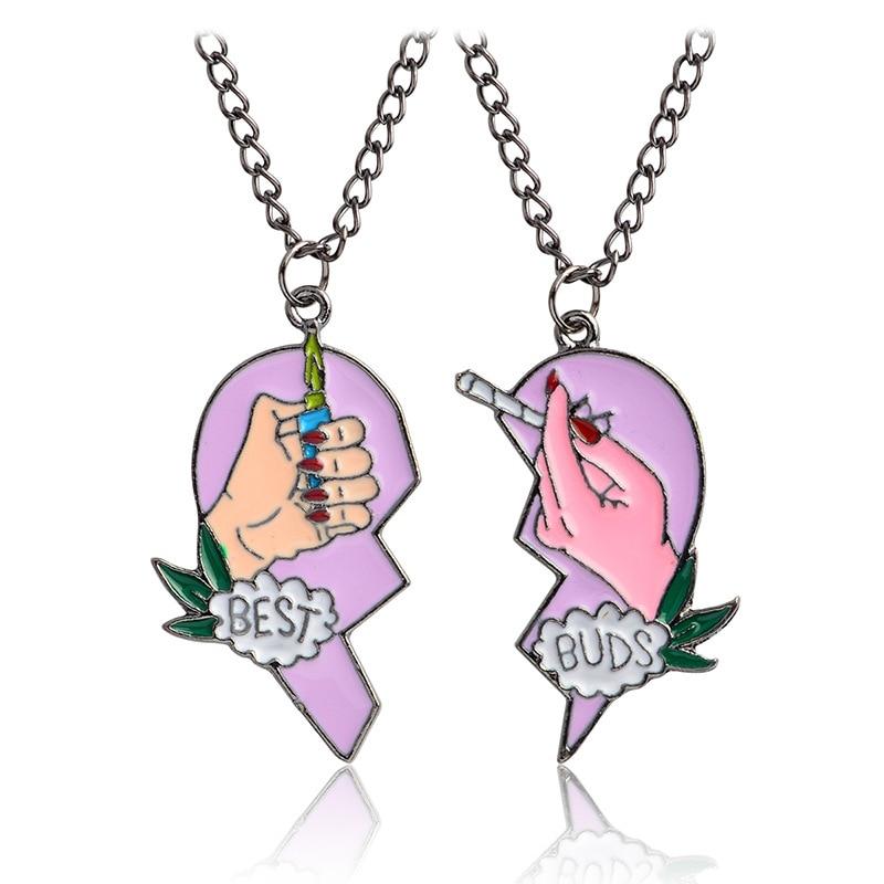 New 2pcs/Set Splice Best Friends Forever Couple Necklace Best Buds Lighter And Cigarettes Broken Heart Shape Pendant Necklace