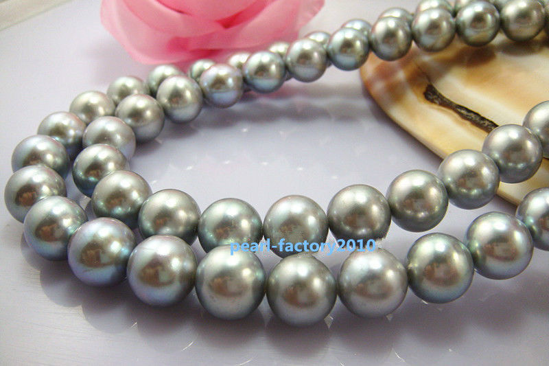 LONG AAA++ 3311-12mm REAL south sea NATURAL silver gray pearl necklace >Selling jewerly free shipping