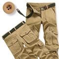2017 Primavera Nuevos Pantalones Cargo Pantalones Hombres Pantalón Militar Verde Del Ejército Masculina más el Tamaño 38 Grandes Bolsillos Decoración Fácil Lavado Ocasional Pantalones Masculinos