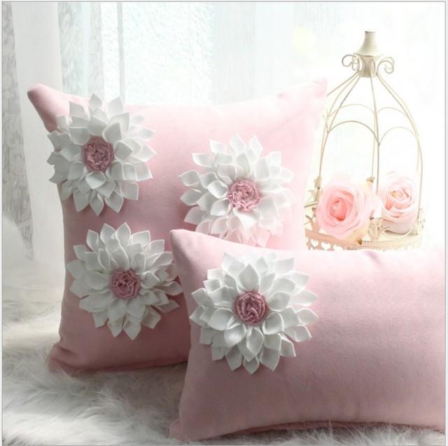Pink 3d flower pillow cover diamond princess home decor cushion pink 3d flower pillow cover diamond princess home decor cushion cover decorative pillowcase pillowsham lumber pillow mightylinksfo
