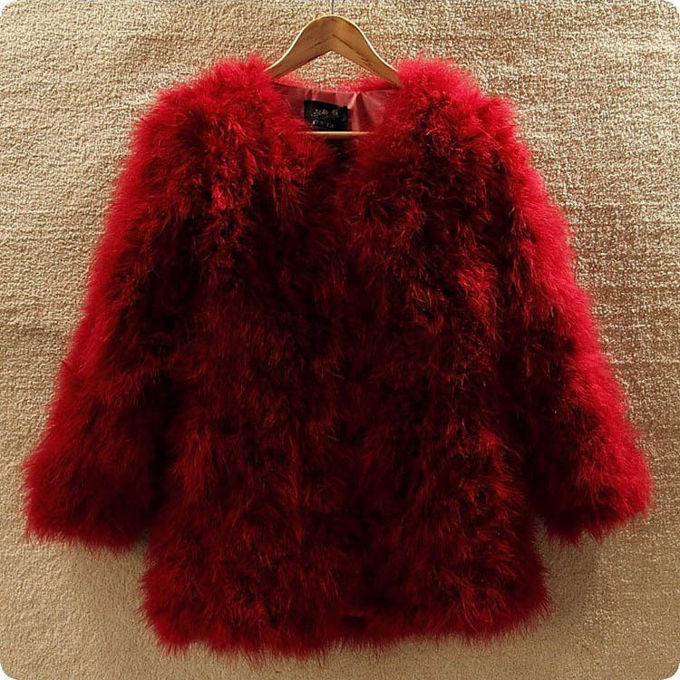 2018 New Fashion Women Winter Sleeve real Ostrich Feather Fur Coat Jacket S-XL wine black natural fur outwear fashion lady coat