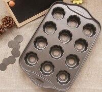 Alta calidad de acero al carbono de la torta del molde antiadherente Mini Pan de queso 12 cups forma de la flor Pan Muffin Pan de abandono inferior