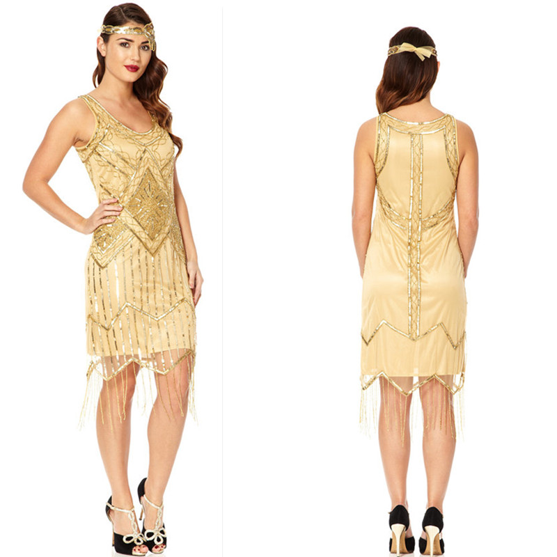 Gold Sequin Bridesmaid Dresses Great Gatsby Scoop Neck Beaded Knee Length Vestidos De Noche Imported Party Dress Luxury In From