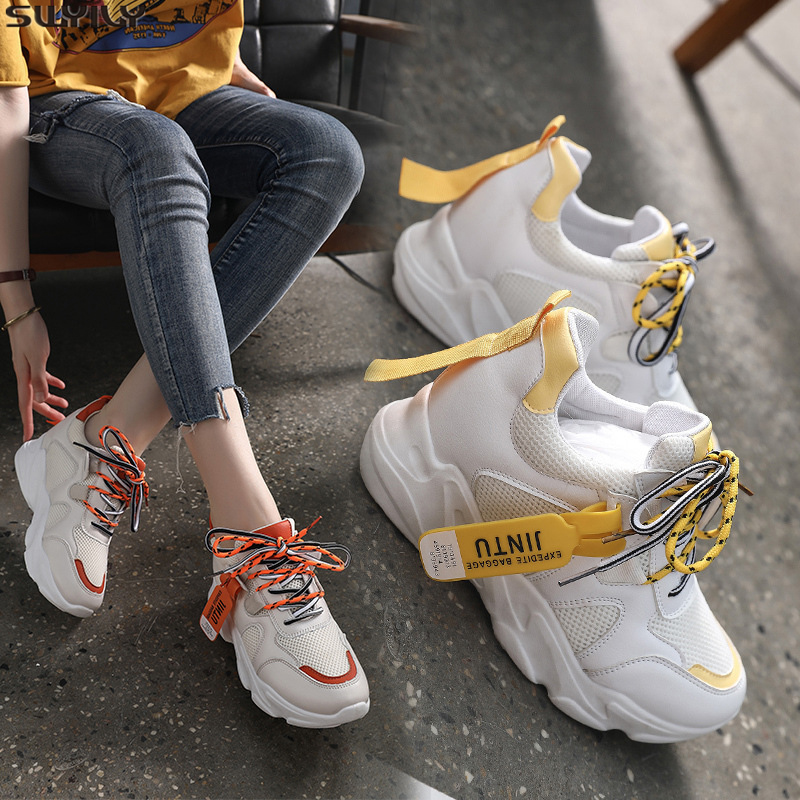 SWYIVY PU Casual Shoes White Breathable Women Sneakers 2019 New Autumn Platform Sneakers For Women Cotton Fabric Ladies Shoe 40