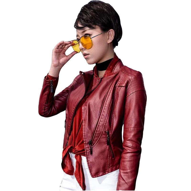2019 new ladies autumn winter   leather   jacket   leather   large size short jackets women's Europe America Slim PU motorcycle clothing