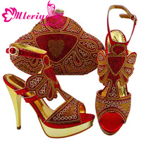 Nice Italian Shoes and Bag To Match Red Color Shoes with Bag Set Nigerian Shoes and Matching Bag African Wedding Shoes