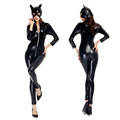 NEW Arrival Sexy women patent leather Superhero batman Catwoman costume clothing halloween coat jumpsuits jacket set uniform