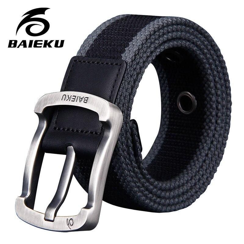 BAIEKU Young fashion   belt   Unisex comfort   belt   Fashion stripe needle buckle canvas   belt   men's   belt