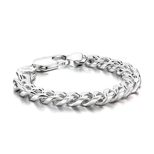 Moda pulseras de plata de ley para hombre pulsera de plata 10 mm20cm men.925. Guapo real de plata joyería de los hombres
