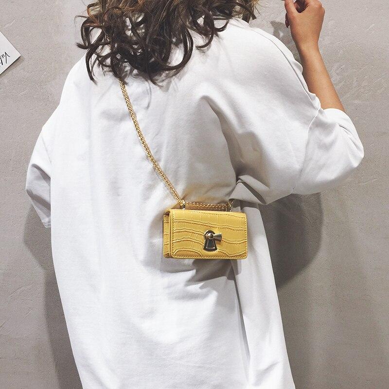 Stone Pattern Mini Flip Square Bag 2019 Summer New Quality PU Leather Women's Designer Handbag Lock Chain Shoulder Messenger Bag