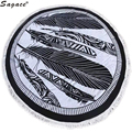 Trendy Black Feather Tassel Shawl Decor Art Round Hippie Tapestry Beach Throw Roundie Mandala Towel Yoga Mat Bohemian Wrap Aug22