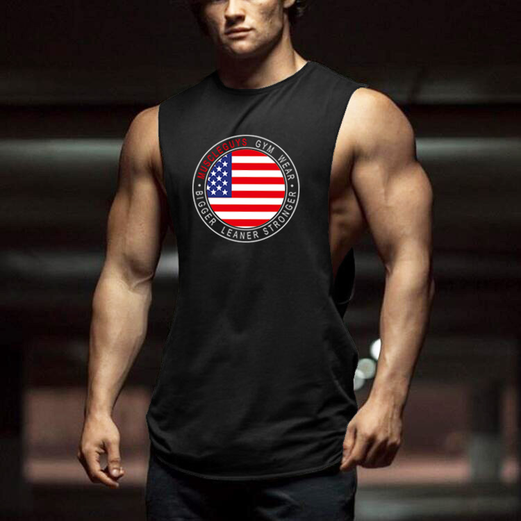 Muscleguys Cut Out Sleeveless Shirt Bodybuilding Clothing and Fitness Men Undershirt usa flag   tank     tops   men muscle vest
