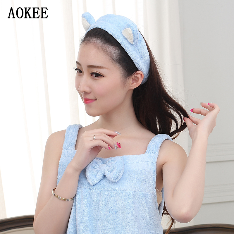 Brand AOKEE High Quality Hairbands Bathroom Sets Women Wash a face/Outdoor Sports Comfortable Coral Velvet Headband Hair Towels