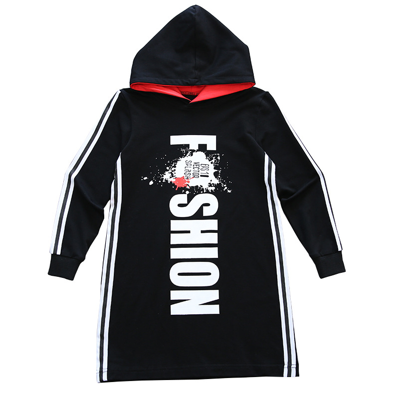 Sweatshirt Tide Hoos Long T Shirt Red Black Hooded Clothes 2018 Spring Autumn Size 6 7 8 9 10 11 12 13 14 Years Child In Sweatshirts From