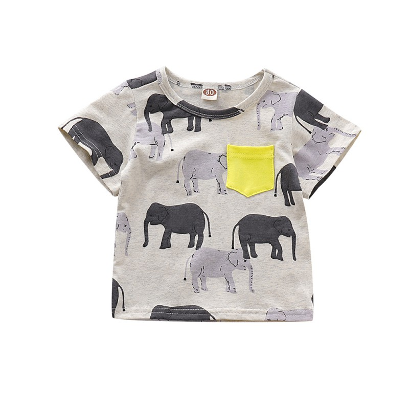 Summer <font><b>Baby</b></font> Boy <font><b>Tshirts</b></font> Short Sleeve <font><b>Animal</b></font> Elephant Print T-Shirts Kids Tops Tees Casual Shirts image