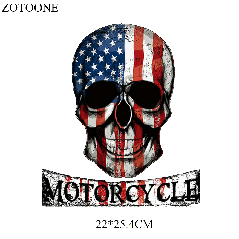 ZOTOONE US Flag Skulls Washable Clothing Badges Decor Diy Accessory Heat Transfer for Clothes Motorcycle Patches Applique G