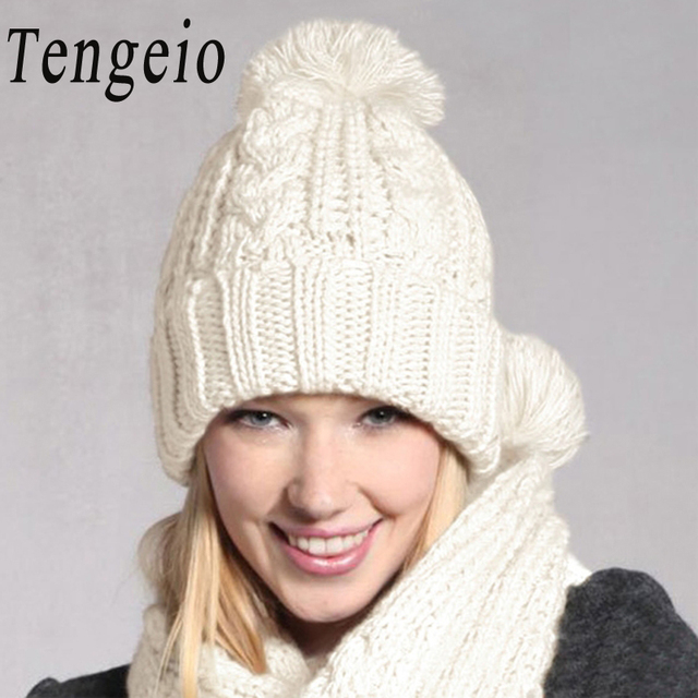 a7d2847ad37e7 Tengeio pom pom hat Hats For Women Beanies Knitted Scarf And Hat Set Cuffed  White Winter Cap bonnet femme neck warmer beanie hat