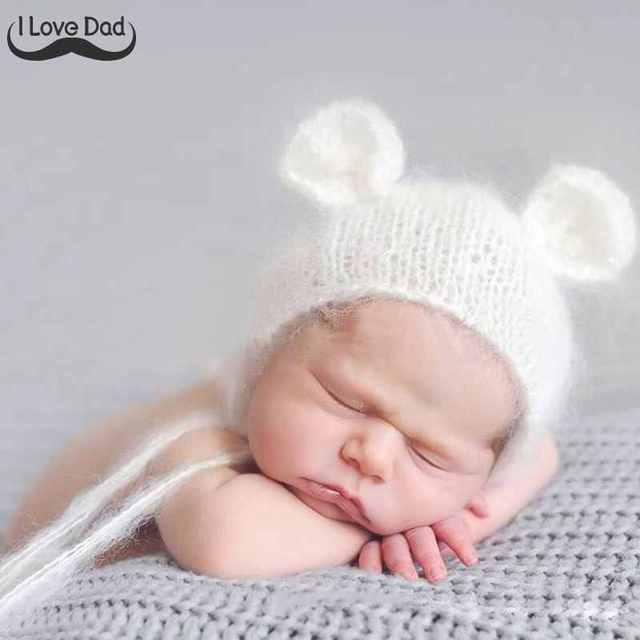 Baby Mohair Ear Bear Hat Newborn Photography Props Cap baby muts Handmade  Knit Soft Mohair Newborn Hats bonnet enfant 6a99d9ba84bb5
