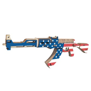 3d wooden gun army fans military enthusiasts jigsaw puzzle toy educational wooden toys for diy handmade puzzles weapon series 3D Wooden Puzzle Jigsaw Toy gun Military Weapon AK-47 Laser Cutting DIY Assembly Kit Kids Educational Wooden Toys For Children