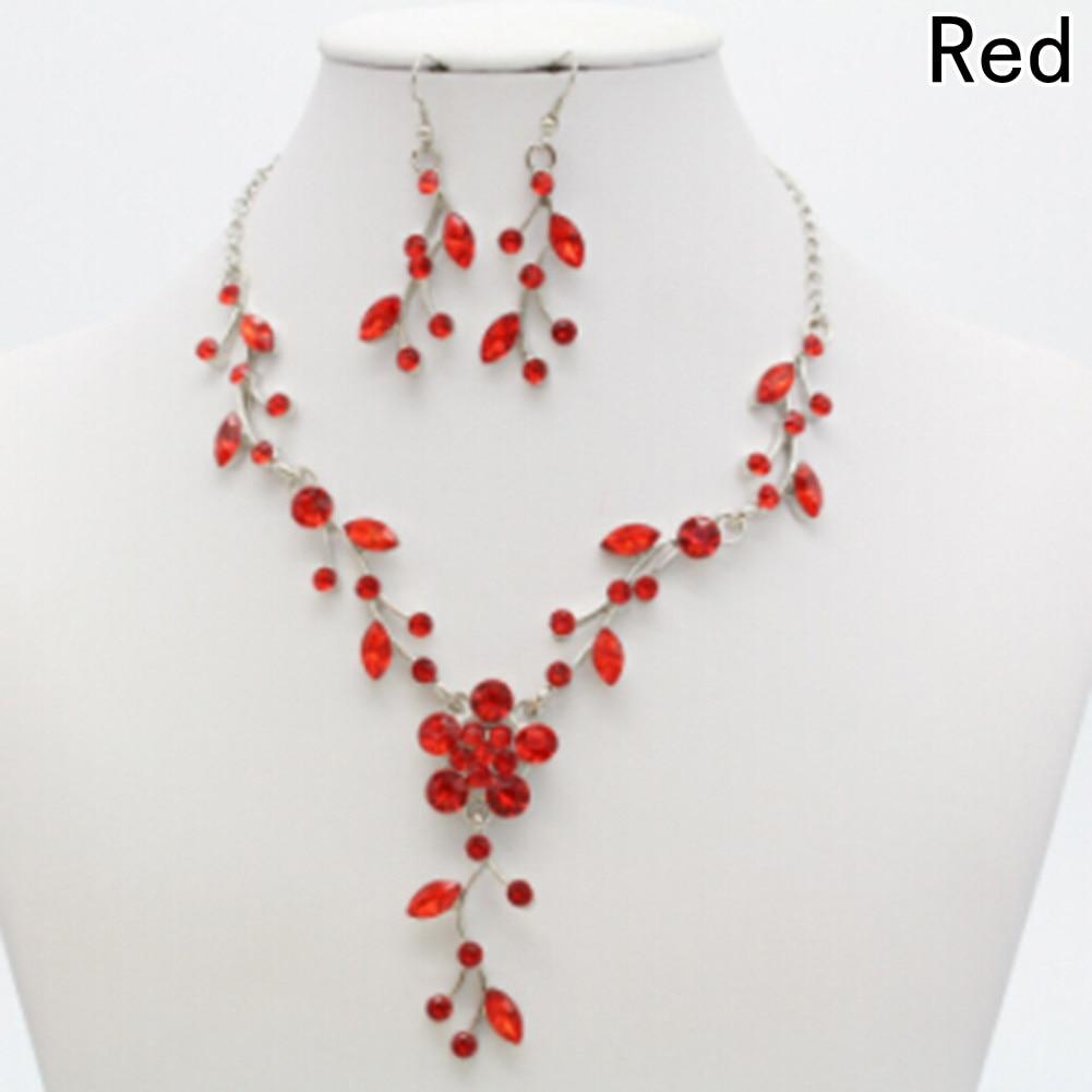 Drop Earrings Jewelry Set New Wedding Bridal Flower Leaf Rhinestone Crystal Necklace