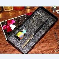Antique English Gothic Dip Pen Set Oblique Calligraphy Pen Set 1 Pen 5 Nibs 1 Inks 1 Gift Box