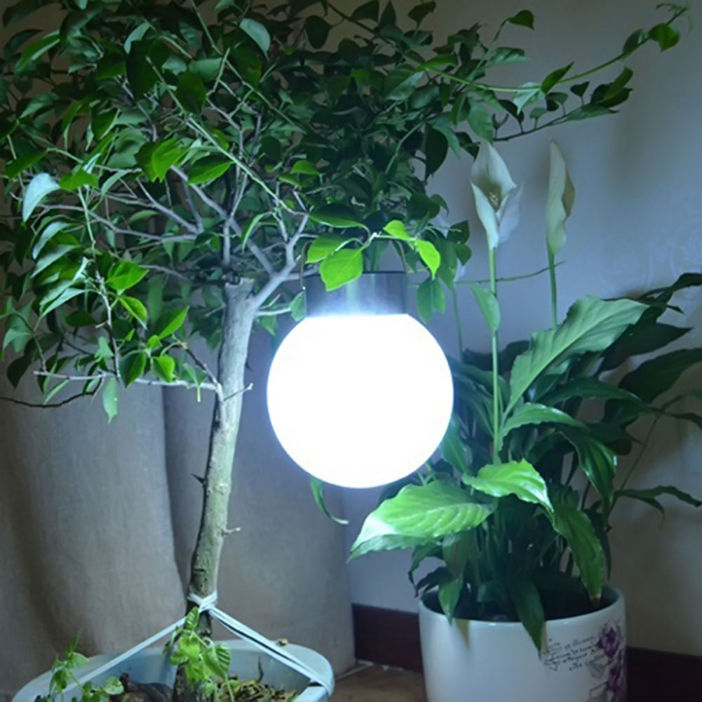 New Outdoor Solar Hanging Lights Ball Shape Abs Stainless Steel White Solar Garden Lamp Waterproof
