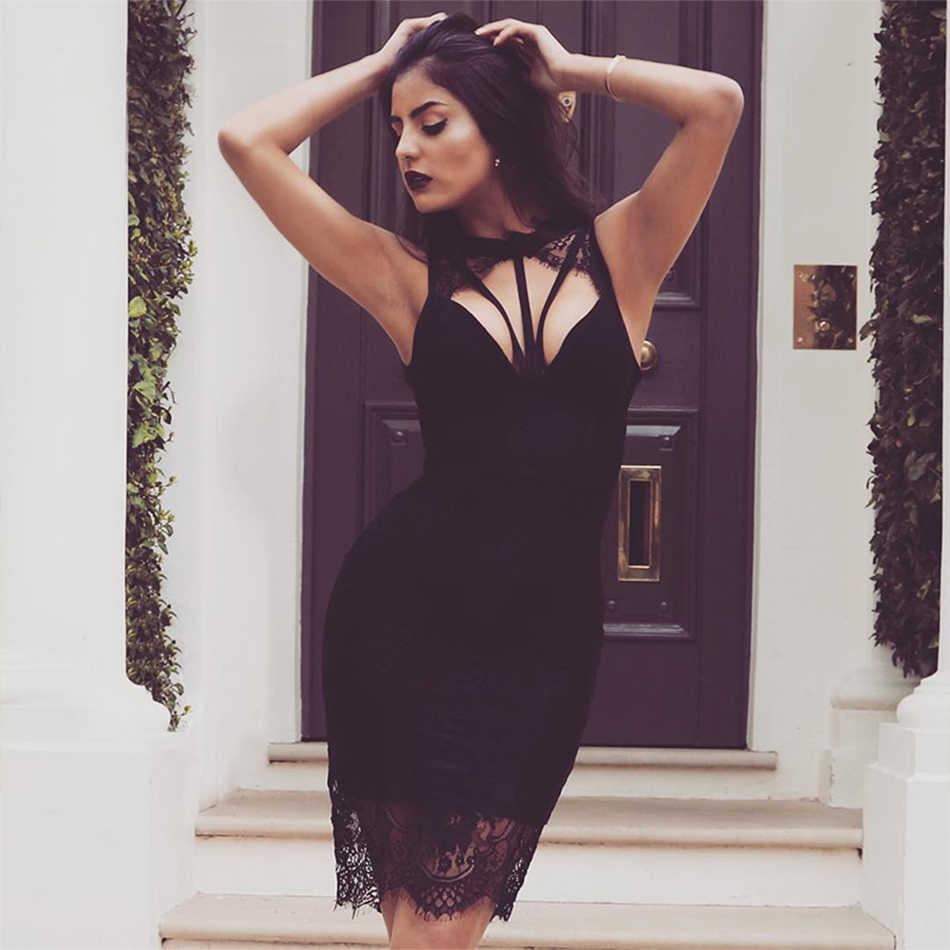206f229eb238 Новейшее вечернее вечерние облегающее Бандажное кружевное платье, женское  черное платье без рукавов, сексуальное платье