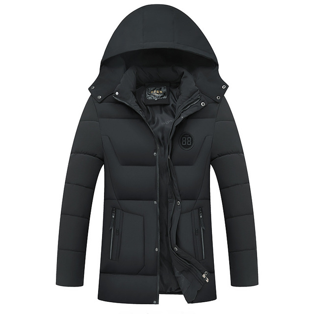 Special Price Long Thick Warm Winter Jacket Men Parka Hooded Business Casual Solid Winter Coat Male Overcoat