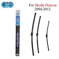 Combo Silicone Rubber Front And Rear Wiper Blades For Skoda Octavia 2004 2012 Windscreen Wipers Car