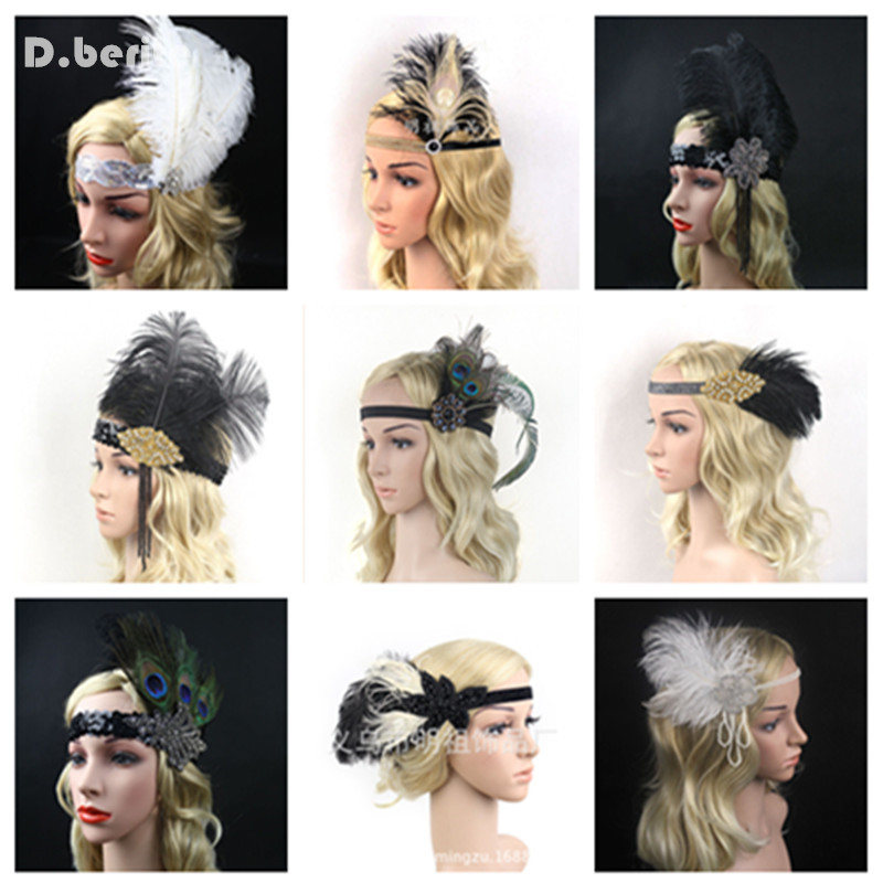 Women Feather Headband Hair Accessories Rhinestone Beaded Sequin Hair Band 1920s Vintage Gatsby Party Headpiece GPD8277
