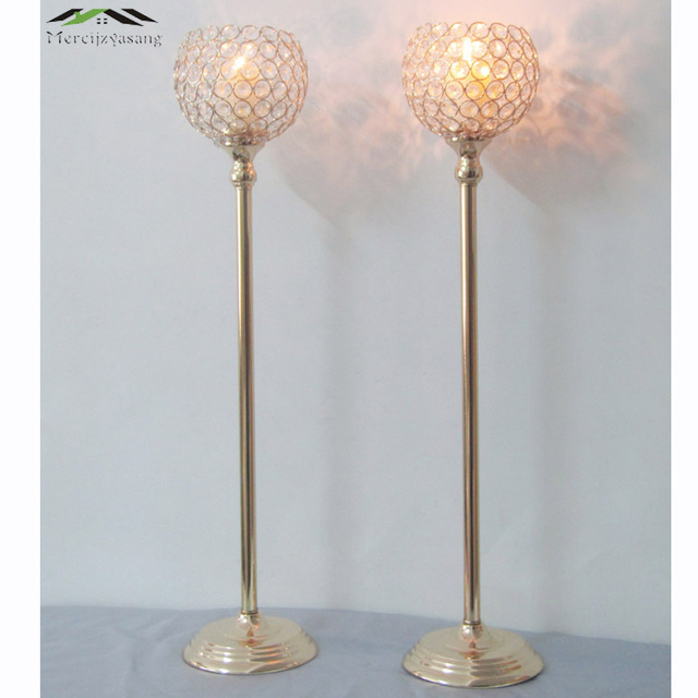 12PCS/LOT Metal Silver/Gold Plated Candle Holders With Crystal Retro Stand Pillar 73CM For Wedding Portavelas Candelabra 02803