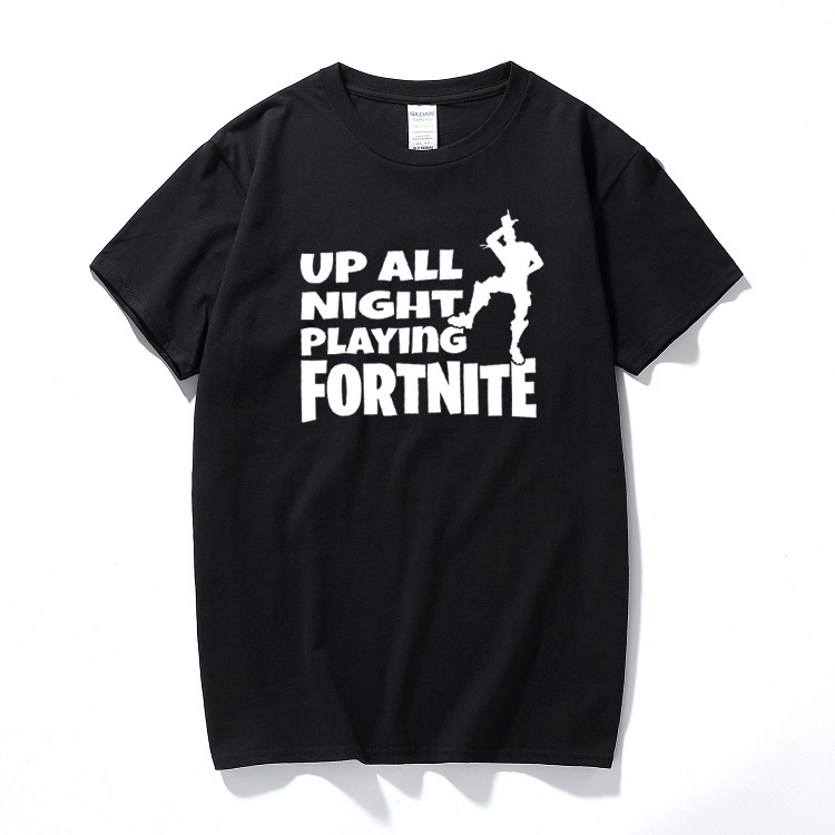 Fortnite up all night battle royale gaming t-shirt ps4 xbox gamers youtuber tee Cotton s ...