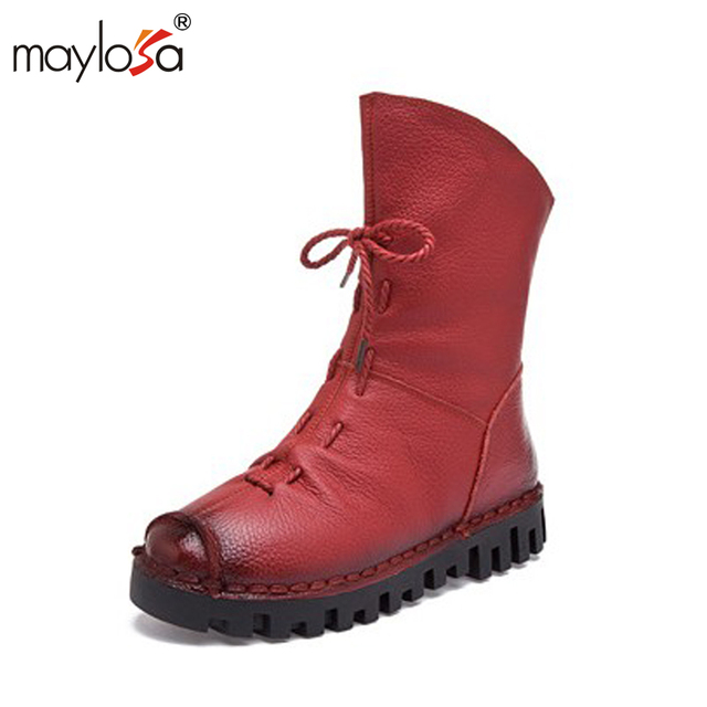 MAYLOSA New Women Vintage Style Genuine Leather Women Boots Flat Booties Soft Cowhide Women's Shoes Front Zip Ankle Boots