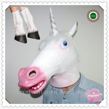 Free Shipping Novelty Creepy Horse Unicorn Mask Halloween Head latex Rubber Costume Theater Prop Party Horse Mask With Leg Glove