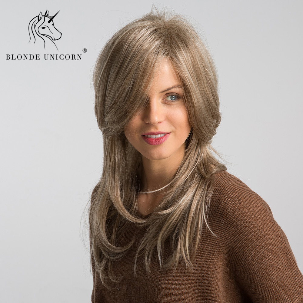 Blonde Unicorn 20 Inch Synthetic Fluffy Layered Wig Light Brown With Highlight Natural Wave  Inclined Parting Hairstyle