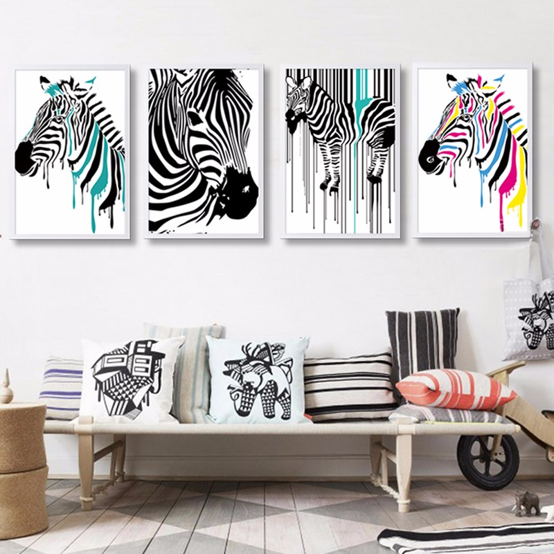 Zebra Canvas Wall Art, Abstract Animals Stripe Peacock Wall Decor Painting,  Home Decoration Pinto