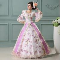 2016 Continental Baroque Rococo Style Lace Pink Print 17th 18th Century Marie Antoinette Floral Party Dress