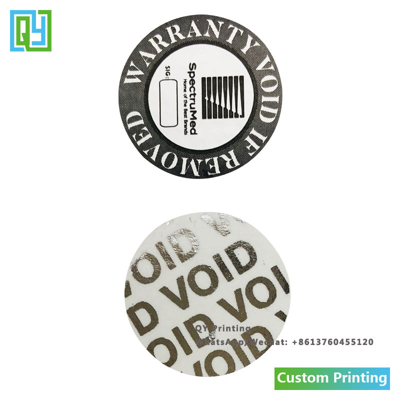 1000pcs Dia 19mm Free shipping custom made brand name silver PET tamper evident void labels envelope