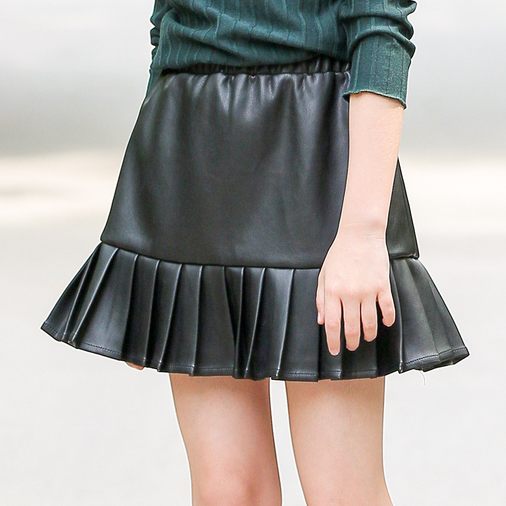 цены на Girls Skirts New PU Faux Leather Elastic Waist Teens Girl Tutu Skirt Autumn Black Kids Short Skirt Children Mini Skirt CA2541