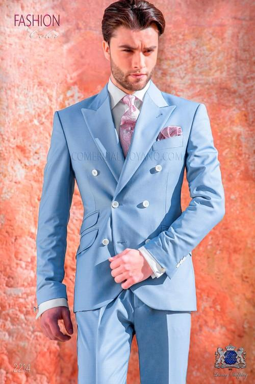 High Quality Double Breasted Sky Blue Groom Tuxedos Peak Lapel Groomsmen Mens Suits Blazers (Jacket+Pants+Tie) W:755